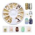 190 unids/caja Janpanese Estilo 3d nail art decoration gliter rhinestone stud crystal nail rueda decoración del clavo de diy herramienta oro HS151