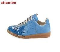 Men casual shoes 2017 hot sale Blue canvas shoes lace up flats fashion graffiti painting low top male trainers shoes