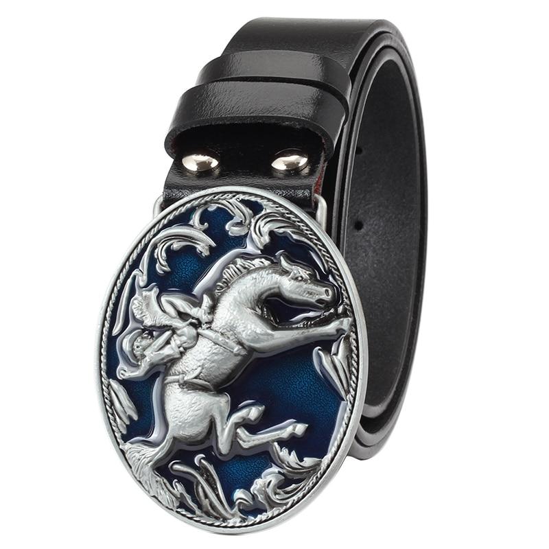 cowboy   belt   buckle genuine leather   belt   horse pattern   belt   buckle for man