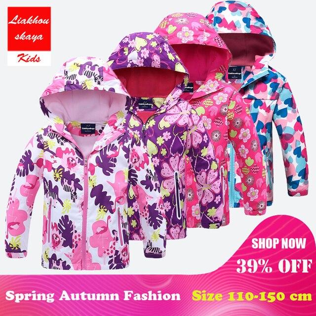 Liakhouskaya/2018 Модное детское пальто с цветочным принтом для девочек, одежда с капюшоном, куртка для девочек, детская флисовая ветрозащитная ветровка