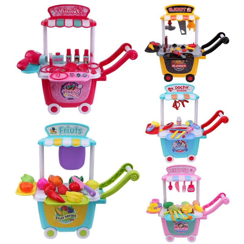 DIY Pretend Play Simulation Kitchen Dresser Medical Makeup Fruit Tools Pretend Play set Toys Baby Kids Toys Gift for Children