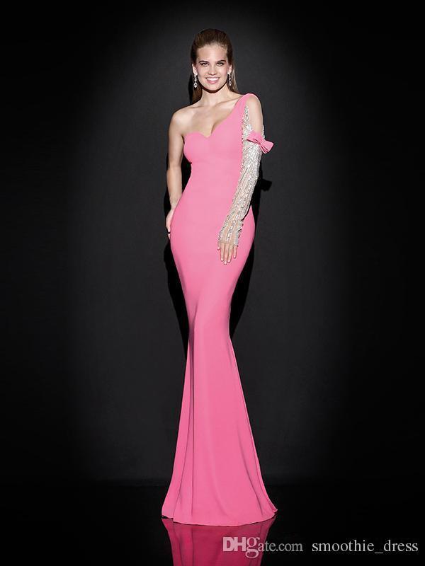 Junoesque фуксия русалка вечернее платье одно плечо декольте шифон полная с бисером кристалл с бантом длинное вечернее платье - Цвет: Розовый