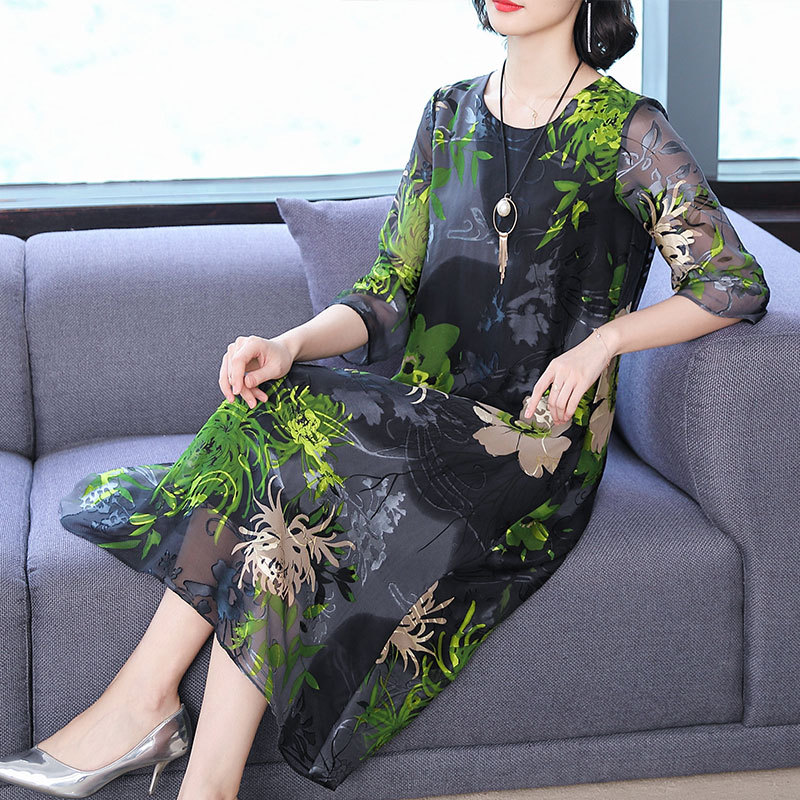 Silk dress female 2019 summer new temperament retro print short sleeved dress large size M 3XL high quality elegant vestidos in Dresses from Women 39 s Clothing