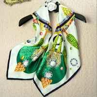 Green Gemstone Printed Luxury Bandana Hijab Shawl 100% Silk Twill Scarf Square Silk Scarf Women 90 Foulard Hand Rolled Top Gifts
