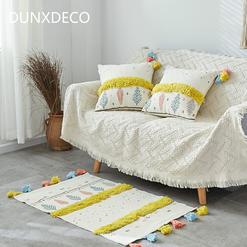 DUNXDECO Cushion Cover Decorative Pillow Case Nordic Simple Geometric Leaf Yellow Tassels Modern Sofa Chair Mat Room Decoration tassels pillow