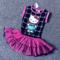 3 4 6 8 9 algodón de las muchachas hello kitty cabritos del vestido de la moda de la historieta del verano envío libre del vestido 1191