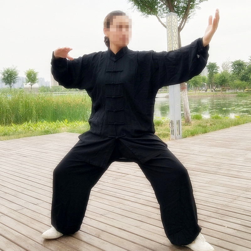 USHINE Factory Price Height 110cm-185cm Black White Noil Poplin KungFu TaiChi Suits Uniform Fitness Sets Man Woman