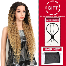 Hair Kinky Curly Glueless High Temperature Fiber Hair 32 Inch Natural Blonde  Synthetic Lace Front Wigs For Black Women