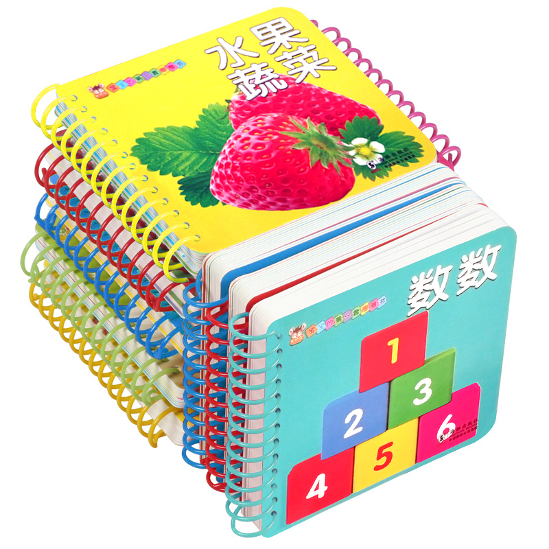 10pcs/set New Early Education Baby Preschool Learning Chinese Characters Cards With Picture ,Left And Right Brain Development