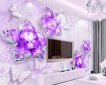 beibehang Custom papel de parede 3d wallpaper classic 3D noble gorgeous purple jewelry flowers TV background wall