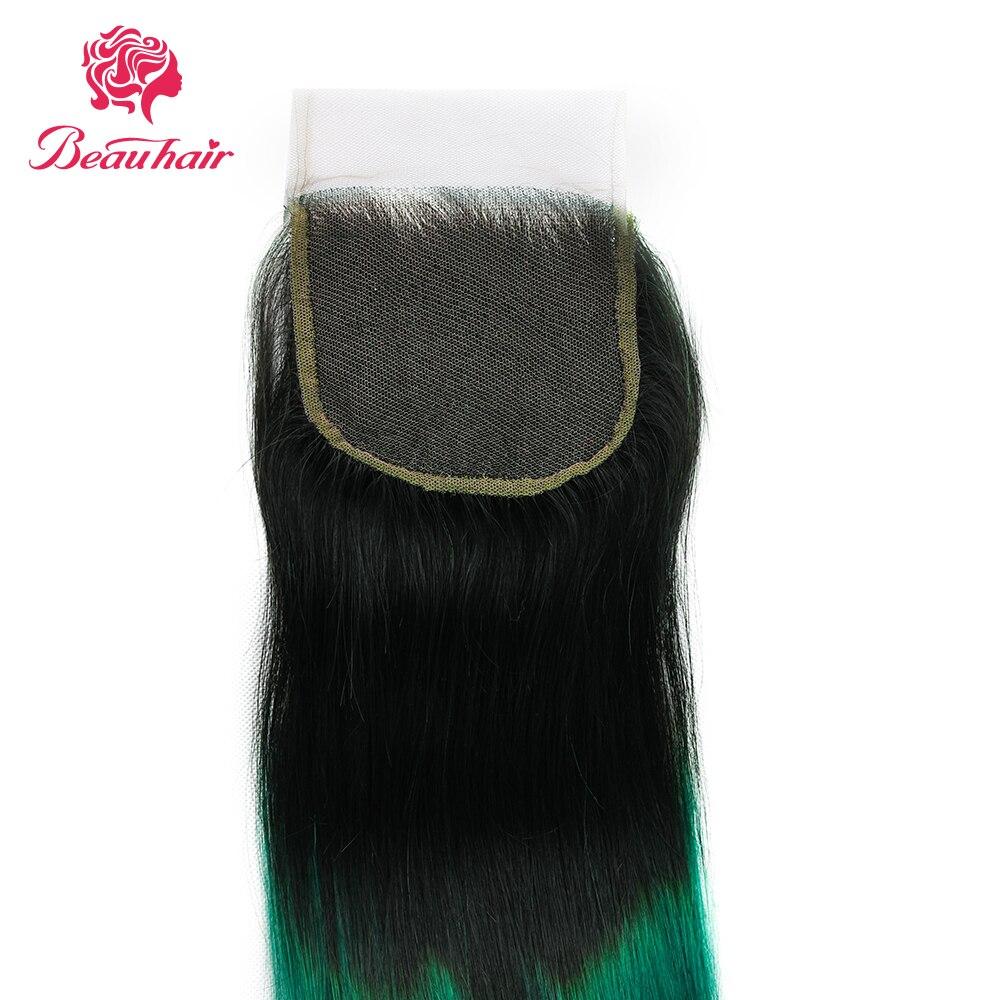 Beau Hair Ombre Bundlar Med Stängning 1B / Grön Två Tone Ombre - Skönhet och hälsa - Foto 4