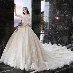 Image 2 - Wedding Dress For Pregnant Woman Vintage V Neck Robe Mariee Princesse Embroidery Applique Pattern Boho Chic Wedding Dress TS869