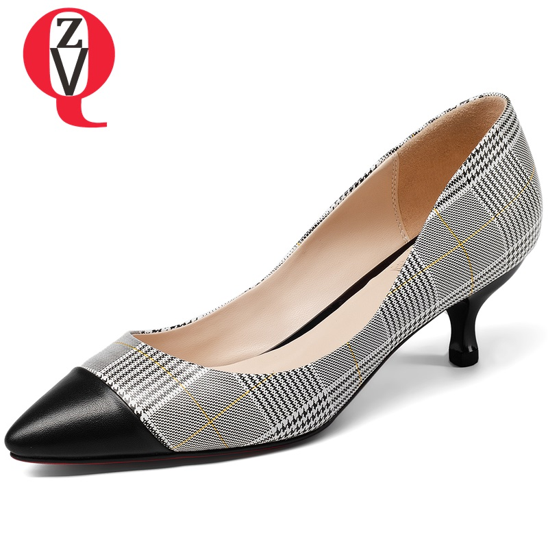 ZVQ Elegant Cow Leather engagement pointed toe woman pumps kitten heels 5cm plaid pattern zapatos mujer spring shoes large size fashionable plaid pattern pink color matching 5cm width tie for men