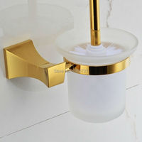 2015 Wholesale New Arrival 100 Brass Porcelain Bathroom Accessories Wall Mounted Gold Toilet Brush Holders