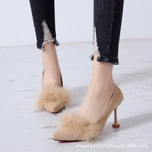Single shoes female  spring and autumn new suede pointed shallow mouth stiletto heels fashion women's shoes women's wool shoes autumn and winter shoes stiletto heels wedding shoe shallow mouth single piece high heeled shoes big size 32 to 47