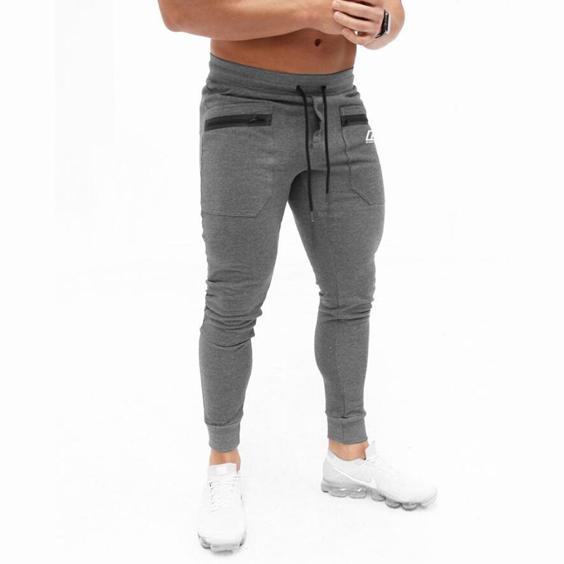 Men Sports Running Pants cotton solid color zipper pants Gym jogging pants men brand sports pants quality men 39 s trousers in Running Pants from Sports amp Entertainment
