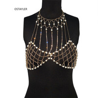 2019 Brand European Summer Sexy Pearl Bra Breast Chain Body Women Bling Rhinestone Chain Harness Hollow Out Bikini Body Jewelry