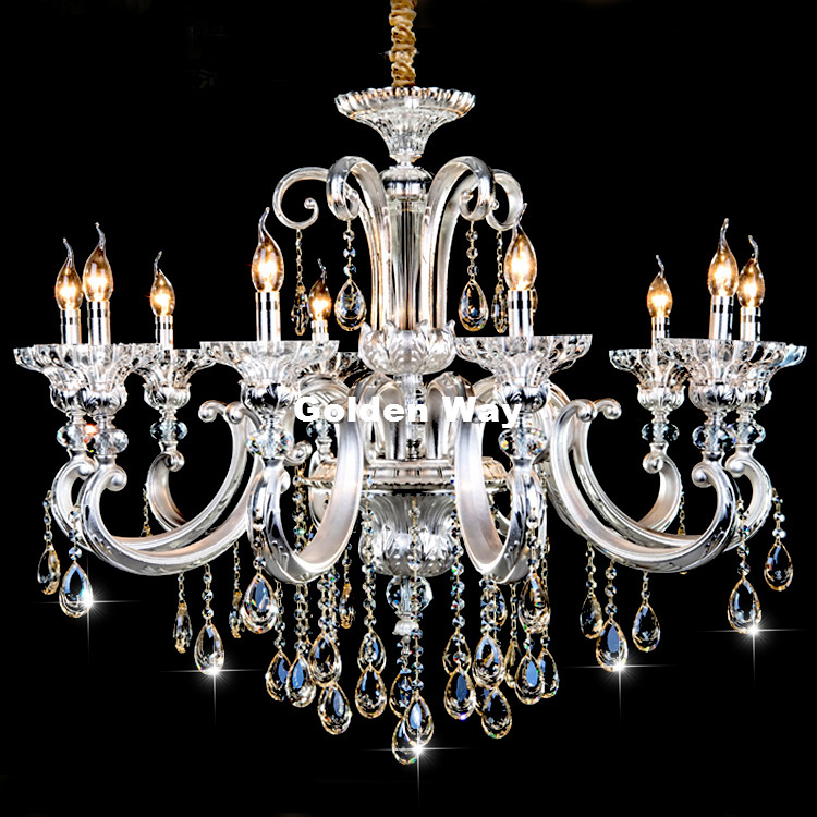 цена на European-style Classic Silver Crystal Chandelier Light Modern Alloy Crystal Lighting With 8 Arms D750mm LED AC 100% Guaranteed