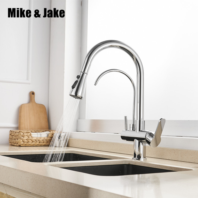 US $83.83 36% OFF|Pull out Kitchen Mixer 3 way water filter kitchen tap hot  and cold kitchen tap black Water Filter 3 Way kitchen mixer MJ7799-in ...
