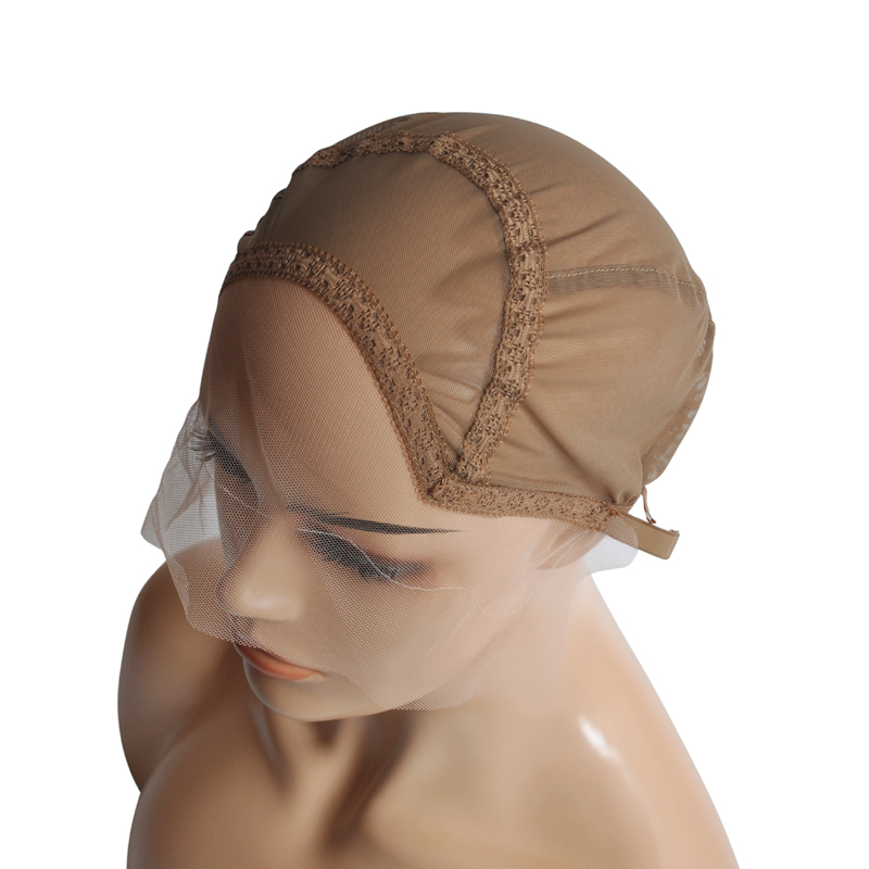 Swiss Lace Front Wig Cap For Making Wigs Weave Cap With Adjustable Straps With Guide Line Sewn In For The Hairline Size S/M/L