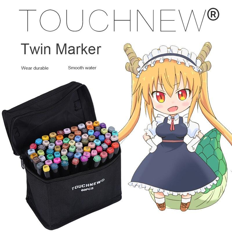 Touchnew 168 cor marcadores de arte caneta escova para escola dupla cabeça marcadores para desenhar manga animação design arte suprimentos