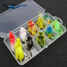 Promotion! 10pcs Set Topwater Frog and Mouse Hollow Body Soft Fishing Lures Bass Hooks Baits Tackle Set and Tackle Box