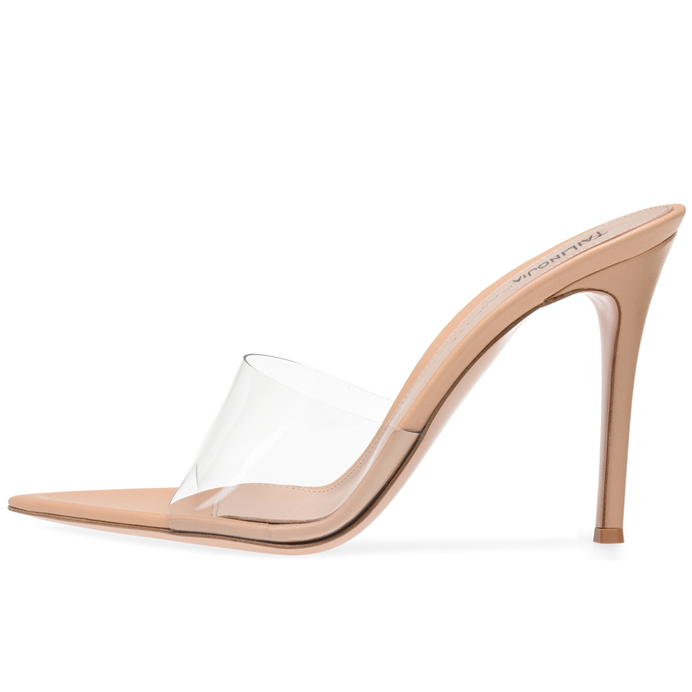 af90467bb0 US $50.99 15% OFF|Women Open Toe High Heel Mules Transparent PVC Sexy Dress  Shoes Pointy Front Plexi Sandal Ladies Stiletto Heel Summer Shoes 2019-in  ...