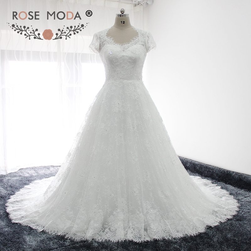 Rose Moda Queen Anne Neckline Short Sleeves Lace A Line Wedding Dress Illusion Lace Back Winter Bridal Gown