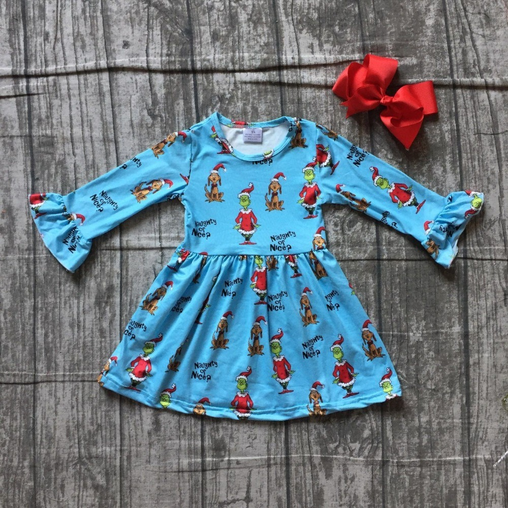все цены на milk silk Christmas girls children clothes baby grinch print cotton Fall/Winter blue long sleeve ruffle dress boutique match bow