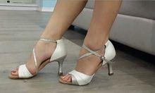 Новый Женский Белый Атласная САЛЬСА Танцевальная Обувь Бальных Свадебный Танец Обувь ALL РАЗМЕР