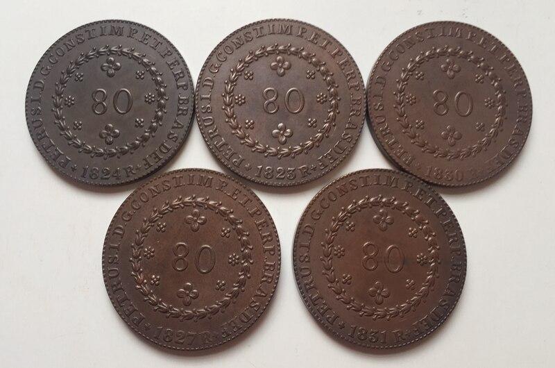1823-1831 Бразилия 80 Reis 5 Монеты Скопируйте Бесплатная доставка 36 мм
