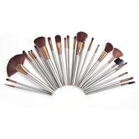 24Pcs/Set Makeup Tools Wood Handle Brushes Makeup Sets Nylon Hair Cosmetic Make Up Tools Multi Functional Brushes Kits