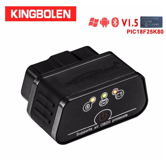 Konnwei KW903 Icar2 بلوتوث elm327 V1.5 Pic18f25k80 رقاقة كاشف أعطال السيارات OBDII الماسح الضوئي الدردار 327 OBD أداة أندرويد