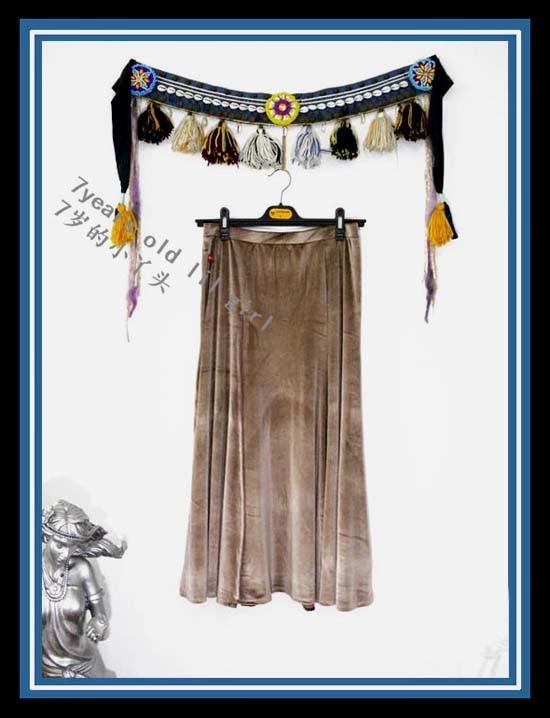 Bellydance Costume Tribal Fusion velvet skirt with Open Slit SRA19