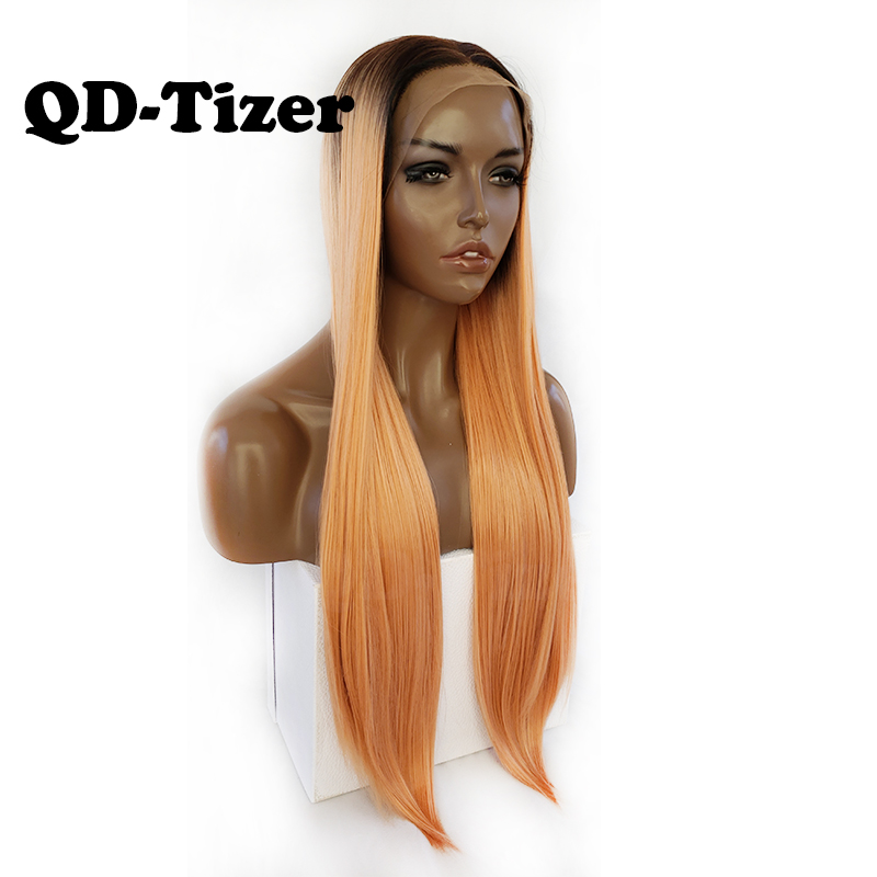 QD Tizer Long Straight Synthetic Lace Front Wig Ombre Orange Color Lace Front Wigs Cosplay For