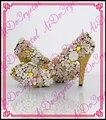 Aidocrystal золотой кристалл горный хрусталь 10 см туфли на каблуках женщина секси высокие каблуки свадебные свадебные туфли