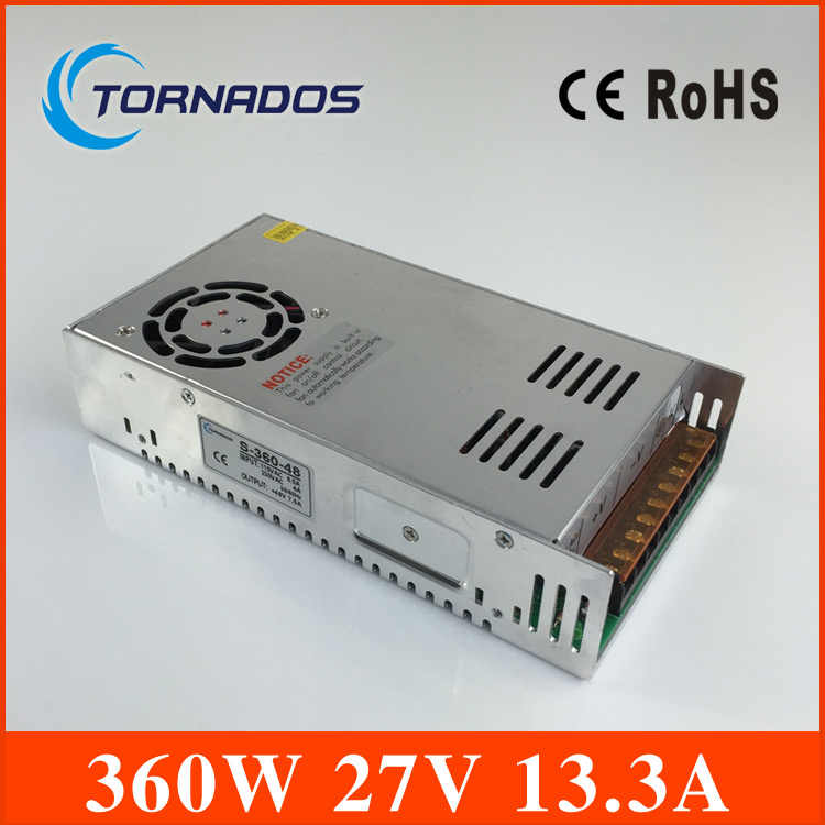 360w 27v power supply ac to dc 27V power supply high quality LED switching power supply industrial power S-360-27 free shipping 360w 12v 30a switching power supply industrial power supply safety equipment power supply