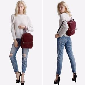 Image 3 - Women Genuine Suede Leather Backpack Female Casual Leisure Zipper Chains Nubuck Travel School Bag Teenager Girls Mochila