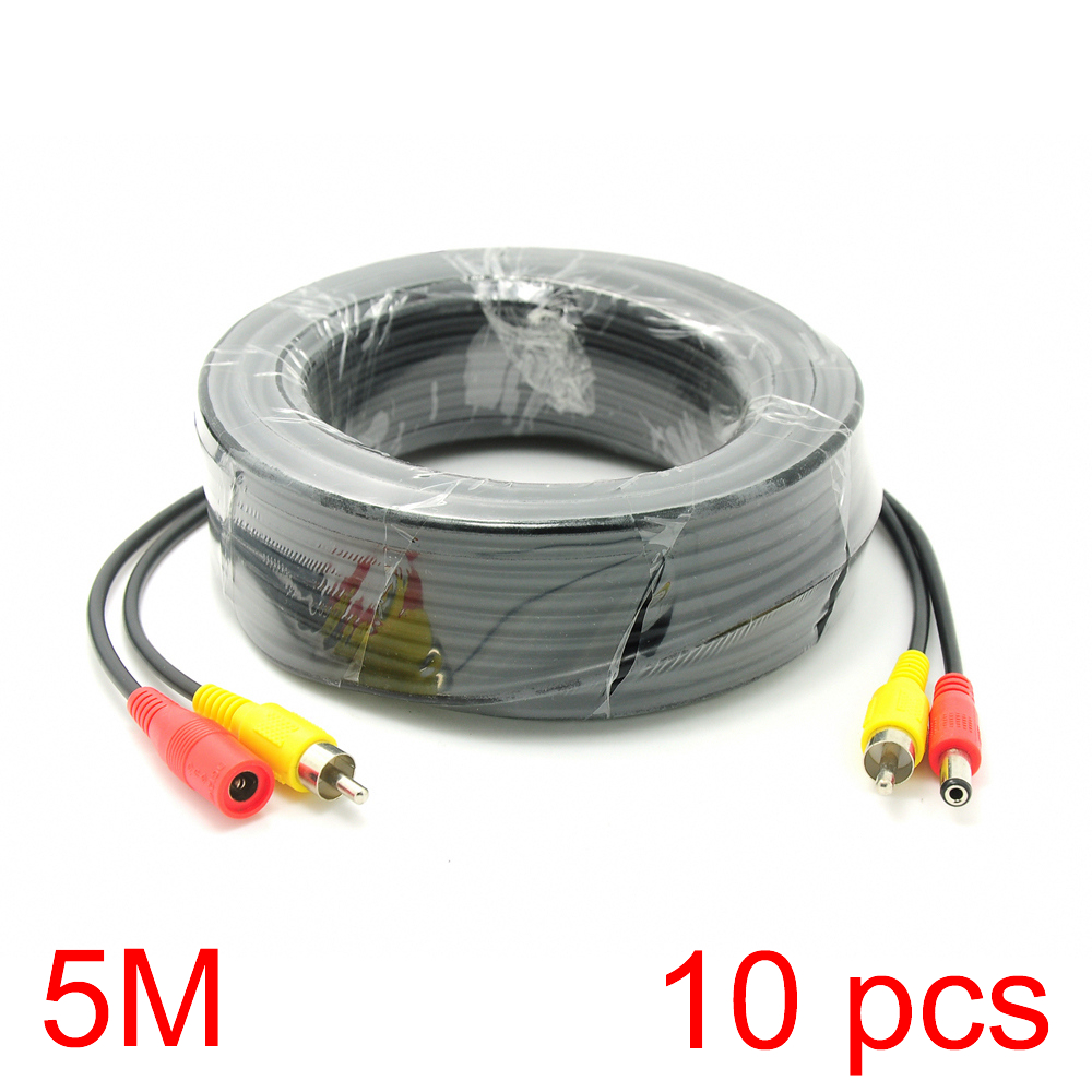 10x 5M/16FT RCA DC Connector Power Audio Video Cable For CCTV Camera Security 10x 5m 16ft bnc rca dc connector video audio power wire cable for cctv camera