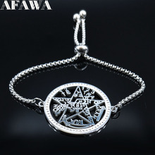 2019 Witchcraft Pentagram Crystal Stainless Steel Bracelet Women Silver Color Bracelets Bangles Jewelry pulseras mujer B18452