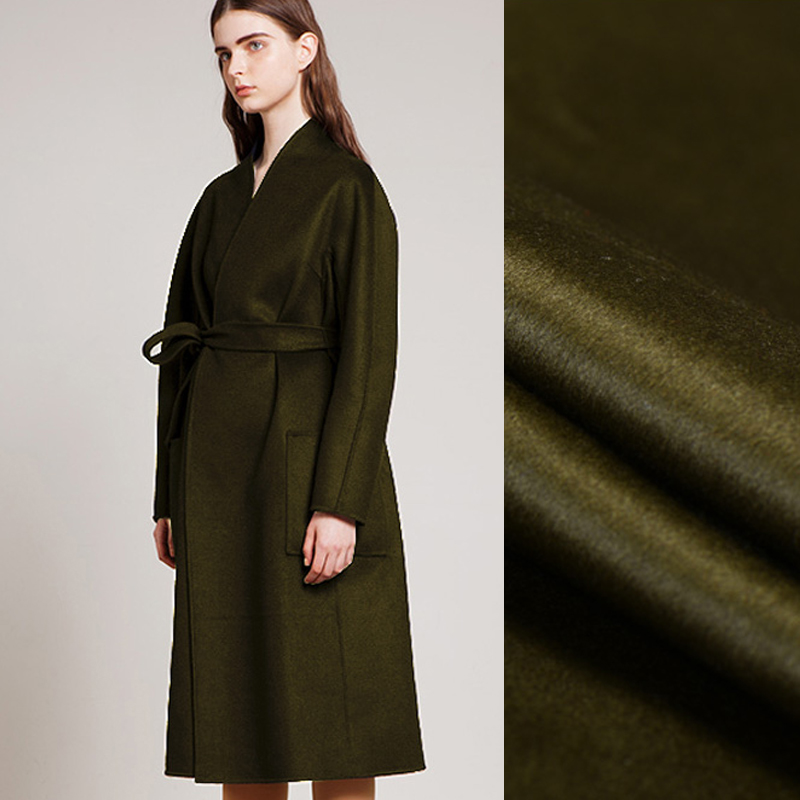 Quality 150CM Wide 830G/M Weight Double Faced Olive Green Thick Cashmere Wool Autumn and Winter Overcoat Outwear Fabric J016