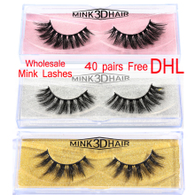 MB Free DHL 40 pairs 3d mink lashes wholesale 100% False Eyelashe lot Natural Thick Long Fake Makeup Extension whole sale A01-15