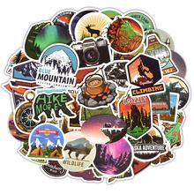 50 قطعة من ملصقات مناظر التخييم في المغامرات الخارجية لصقات تسلق السفر للحاسوب ماك بوك والأمتعة ملصق كمبيوتر محمول للدراجة