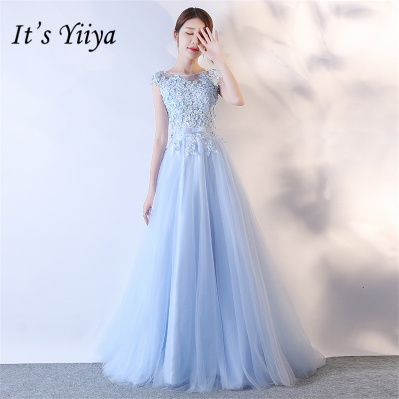 It's YiiYa Summer Sleeveless Mesh   Bridesmaid     Dresses   Elegant Pure Color Slim A-line Frocks H077
