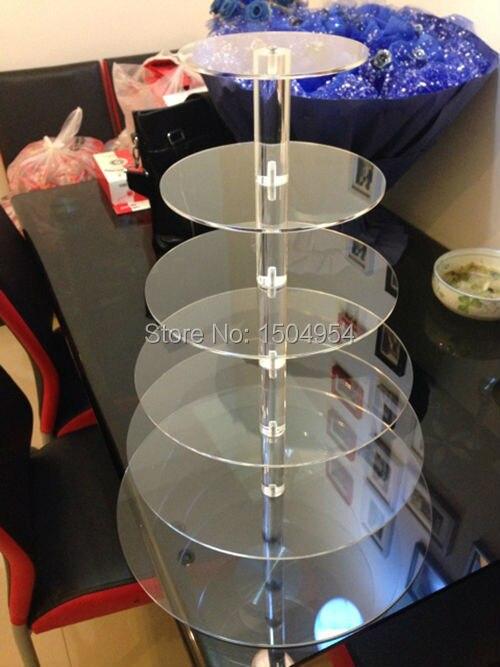 Ev ve Bahçe'ten Standlar'de Yuvarlak 6 Katmanlı şeffaf Akrilik Cupcake Ekran Standı/akrilik kek standı'da  Grup 1