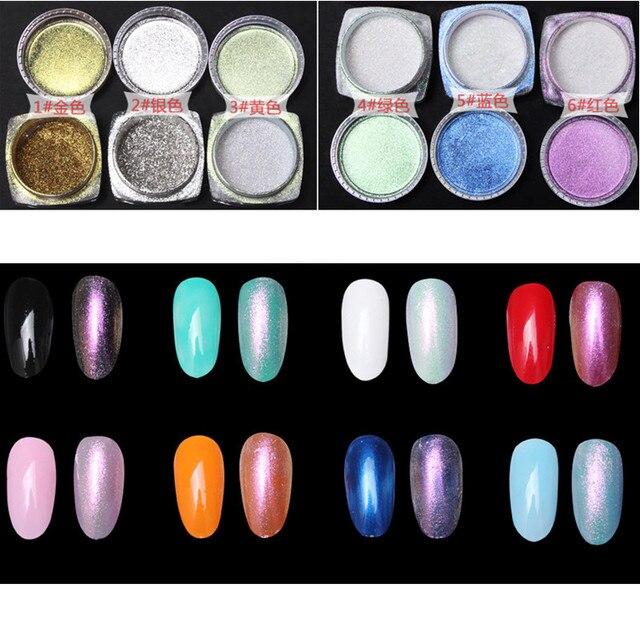 2g Nail Art Tips Mirror Powder Gold Sliver Chrome Pigment Glitter Aluminium Nails Polish Gel Design