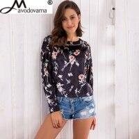 Avodovama M Fashion New Women Flower Printed Long Sleeve O Neck Casual Elegant Loose Blouse