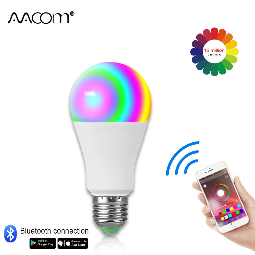 15W Ampoule LED E27 Smart Light Bulb Wireless Bluetooth 4.0 Remote Control 85-265V RGBW 20 Modes Multi Color Night Lamps