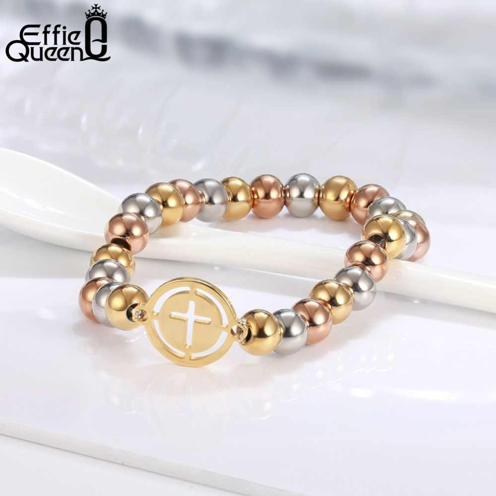 Effie Queen 316L Stainless Steel Bead Bracelet For Women Men Charm Round Beads Cross Bracelets Men Jewelry Party Gift IB104