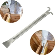 Stainless steel special length scraper good hive tool for the beekeeper  separating boxes bee hooks 390mm